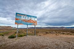 Welcome to the state of Utah stock image