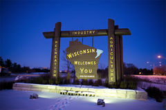 Welcome to the State of Wisconsin USA, Travel. A welcome sign for Wisconsin greets visitors and travelers and they cross into the state. Wisconsin is a unique Royalty Free Stock Photography