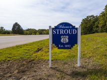 Welcome to Stroud sign in Oklahoma - STROUD - OKLAHOMA - OCTOBER 24, 2017 Stock Photos