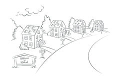 Welcome to Suburb - monochrome illustration, vector Royalty Free Stock Image