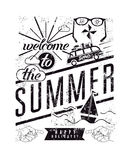 Welcome to the summer. Black-white typographic retro grunge poster. Vector illustration. Stock Photos