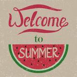 Welcome to summer. Letters are carved in a watermelon. Grunge. V Stock Photos