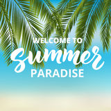 Welcome to summer paradise - hand drawn brush lettering Royalty Free Stock Photos