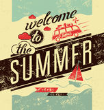 Welcome to the summer. Typographic retro grunge poster. Vector illustration. Royalty Free Stock Photography