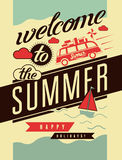 Welcome to the summer. Typographic retro poster. Vector illustration. Royalty Free Stock Photo