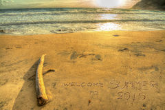 Welcome to summer 2015 writing at sunset Royalty Free Stock Image