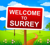 Welcome To Surrey Indicates United Kingdom And England Stock Photos