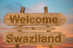Welcome to Swaziland sign on wood background Royalty Free Stock Photography
