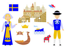Welcome to sweden. Set in the style of a flat design on the theme of sweden Royalty Free Stock Photo