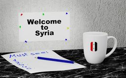 Welcome to Syria. Big mug and label on the wall with text Welcome to Syria. 3D rendering Stock Image