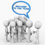 Welcome to the team. Team welcoming a new member in team, 3d figures standing on white background, team joining and recruitment concept Royalty Free Stock Images