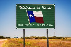 Welcome to Texas State Sign stock photo