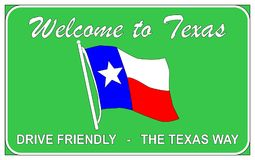 Welcome To Texas. Welcomung road trafic sign over a white background Stock Photography