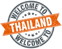 Welcome to Thailand orange round stamp Stock Images