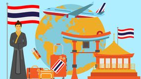 Welcome to Thailand postcard. Travel and safari concept of Asia world map vector illustration with national flag. Welcome background royalty free illustration