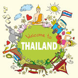 Welcome to Thailand . Set Thai color vector icons and symbols Royalty Free Stock Photos