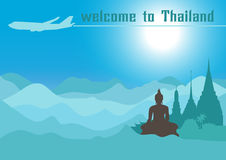 Welcome to Thailand,Travel design with Temple, vector illustration. Stock Photo