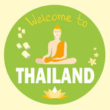 Welcome to Thailand, Vector illustration with Buddha Stock Photography