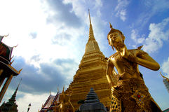 Welcome to thialand - Kinnari statue in Wat Phra Kaew royalty free stock photography