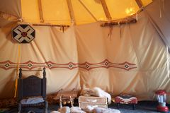Welcome To The Tipi. That`s a huge tipi. Enter and leave the tipi always from the left to the right, only clockwise Stock Image