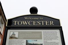 Welcome to Towcester Information Sign stock photography