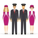 Welcome to travel by plane. Pilot, capitan, flying attendants, air hostess. Vector illustration cartoon character stock illustration