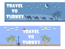 Welcome to Turkey. Banner in a flat style. Tourism. Ticket. Royalty Free Stock Images