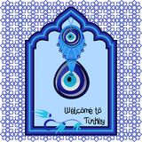 Welcome to Turkey greeting cart template with turkish traditional glass amulet boncuk, evil eye. In the arch style blue window isolated on white background Royalty Free Stock Photo