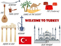 Welcome to Turkey. Symbols of Turkey. Set of icons. Vector. Royalty Free Stock Photography