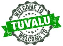 Welcome to Tuvalu seal. Welcome to Tuvalu round vintage seal Stock Photo