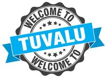 Welcome to Tuvalu seal. Welcome to Tuvalu round vintage seal Stock Image