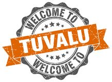 Welcome to Tuvalu seal. Welcome to Tuvalu round vintage seal Royalty Free Stock Photos