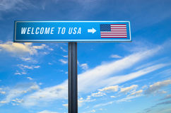 Welcome to United States of America sign Stock Image
