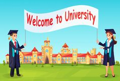 Welcome to University. Vector Charaters in Gowns. Welcome to University. Vector Charaters in Gowns Invite New Students for Education in High School Stock Photo