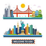 Welcome to USA. New York and San Francisco landscapes. The Statue of Liberty and the Golden Gate Bridge. Vector Flat illustrations Royalty Free Stock Photography