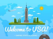 Welcome to USA poster with famous attraction. Vector illustration. Travel design with Empire State Building in New York. Time to travel, discover new places Stock Photo
