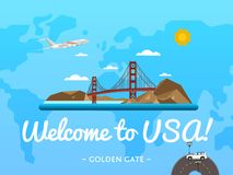 Welcome to USA poster with famous attraction Royalty Free Stock Image