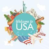 Welcome to USA. United States of America greeting card with circle shape. Vector illustration about travel. In colorful design. American label Royalty Free Stock Images