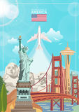 Welcome to USA. United States of America poster with american sightseeings and airplane. Vector illustration about travel. In colorful design stock illustration