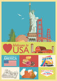 Welcome to USA. United States of America poster with american sightseeings in hipster style. Vector illustration about travel. In colorful design. American royalty free illustration