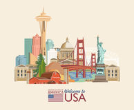Welcome to USA. United States of America poster with american sightseeings. Vector illustration about travel. In colorful design Royalty Free Stock Photography