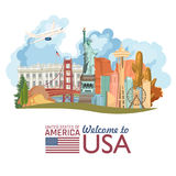 Welcome to USA. United States of America poster with statue of liberty and US flag. Vector illustration about travel. In colorful design Royalty Free Stock Images