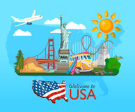Welcome to USA. United States of America poster with statue of liberty and US map. Vector illustration about travel Royalty Free Stock Photos