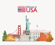 Welcome to USA. United States of America poster with statue of liberty. Vector illustration about travel Royalty Free Stock Images