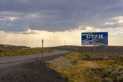 Welcome to Utah. Evanston, Utah, United States - August 15, 2018: Shot of the Welcome to Utah sign located on the interstate highway I-80 in Evanston, Utah royalty free stock photography
