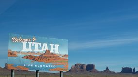Welcome to Utah Poster Under Blue Daytime Sky stock photography
