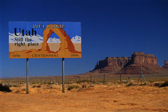 Welcome to Utah road sign in Arches National Park Stock Images