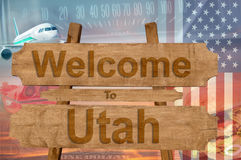 Welcome to Utah state in USA sign on wood, travell theme Stock Images