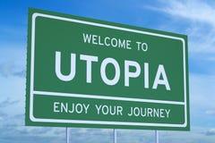 Welcome to Utopia concept Stock Photos