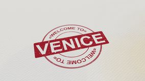 WELCOME TO VENICE stamp red print on the paper. 3D rendering. WELCOME TO VENICE stamp red print on the paper. 3D Stock Photography